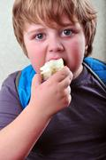 portrait of schoolboy eating apple - stock photo