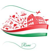 Rome colosseum with food element on italian flag Stock Illustration