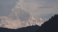 Stock Video Footage of Viow of Machapuchare peak, part of the Annapurna ranges in Nepal