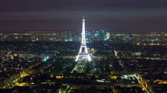 View of Paris and Eiffel Tower from Montparnasse tower timelapse at night Stock Footage