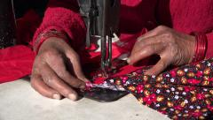 Sowing machine, Nepal village, woman, hands, detail, colorful Stock Footage