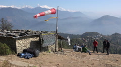 Group of paragliders waiting for good thermals, Pokhara, Nepal Stock Footage