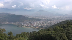 Overview of Pokhara city, a popular place to visit in Nepal Stock Footage
