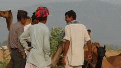 Camel traders in Pushkar, India Stock Footage