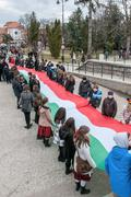 Hungary 's Day celebrated in Saint George city in Romania Stock Photos