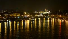Night city (buildings) - Prague Castle (Hradcany) - urban street with cars Stock Footage