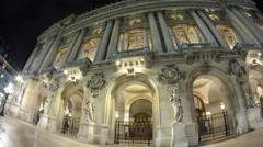 Opera National de Paris in the nighttime. Grand Opera Paris, France timelapse Stock Footage