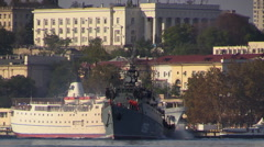 Russian Navy. Large antisubmarine warship goes from the Bay. Stock Footage