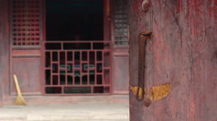 Chinese rural yard and old door Stock Footage