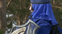 Female Paladin turning around - stock footage