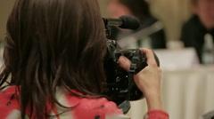 Girl's shooting press Stock Footage