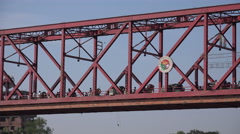 Traffic drives over the Kean Bridge in Sylhet, Bangladesh Stock Footage