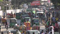 Busy morning rush hour, street scene in Sylhet, Bangladesh - stock footage