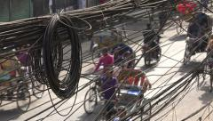 Bangladesh, Asia, tangled electricity wires, streets, power transmission, messy Stock Footage