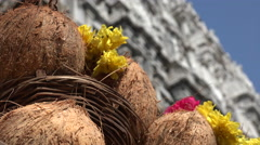 India, temple complex, items to use for religious offerings Stock Footage