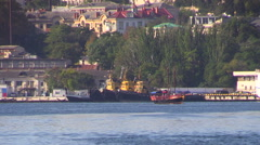 "Minesweeper ship of Russian Navy ""Kovrovets"" passes on the Sevastopol bay. - stock footage"