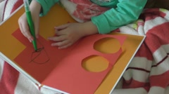 Closeup of hands and drawing the child Stock Footage
