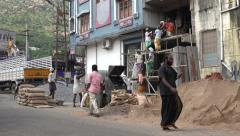 India, men and women work at a construction site, labor - stock footage