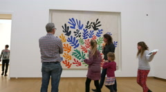 Matisse work of art and visitors museum Stock Footage