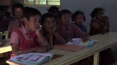 India, orphan students attend class in a village school Stock Footage
