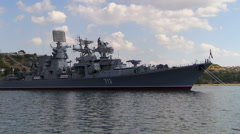 Russian Navy Large ASW destroyer Kerch docked in the bay. Sevastopol, Crimea. Stock Footage