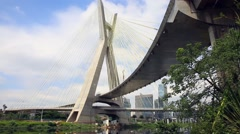 Estaiada Bridge in Sao Paulo, Brazil Stock Footage