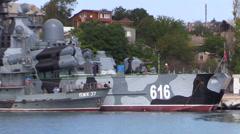 Russian Navy warships docked in the bay. Sevastopol, Crimea. September 2014. Stock Footage