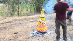 Burn joss paper or hell money Chinese Culture in The Qingming Festival - stock footage