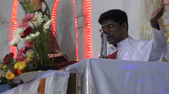 Indian priest gives a speech in a Christian church in Pondicherry India Stock Footage
