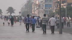 India, Pondicherry, morning walk, boulevard, promenade, exercise Stock Footage