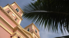 Stock Video Footage of India, colorful cathedral, Pondicherry, religion, Christianity, church