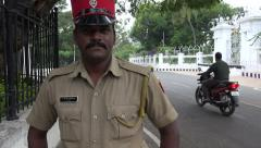 Pondicherry, India, police officer, French hat, portrait Stock Footage