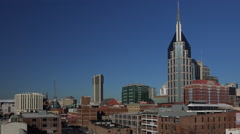 Looking across Nashville skyline in early morning Stock Footage