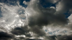 Cloudy stormy black and white dramatic sky background - stock footage