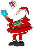 Santa juggling packages - stock illustration