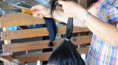 Tai Dam people doing hairdo and Make up Black Tai hairstyle Stock Footage