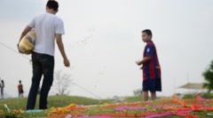 My family go to graveyard at Sritasala Cemetery in the Qingming Festival - stock footage