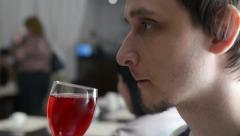 Man drinks wonderful juice Stock Footage
