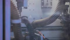 Machine at work in a woodworking factory. Close up Stock Footage