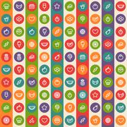 Color Striped Seamless Pattern with Dessert and Fruits Icons - stock illustration