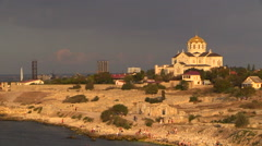 Hot summer evening. View of the ancient city of Hersones. Stock Footage