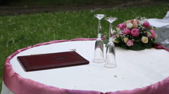 Bakal and book a table for on-site wedding ceremony Stock Footage