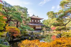 Ginkakuji Silver (The Silver Pavilion) in autumn season - stock photo