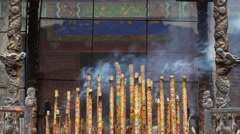 Flamed incense in Qufu Confucius temple Stock Footage