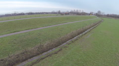 River dikes in the Netherlands from the air Stock Footage