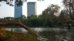 View of Lake at Lumphini Park in Bangkok Stock Footage