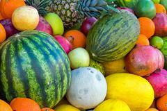 Assortment of tropical fruits Stock Photos