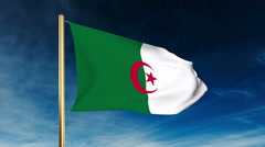 Algeria flag slider style. Waving in the wind with cloud background animation - stock footage