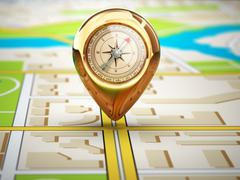 Navigation concept. Pin with compass on the city map. Stock Illustration