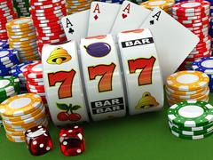 Casino concept. Jackpot. Poker cards, chips and dice. - stock illustration